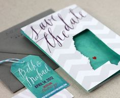 invitations, save, dates, calligraphy, paper, card, cut outs, destination weddings, chevron stripes