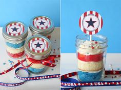 4th of July cupcakes in a jar and printable