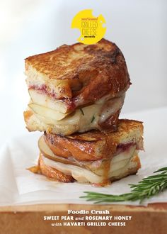 Sweet Pear and Rosemary Honey with Havarti Grilled Cheese man-food