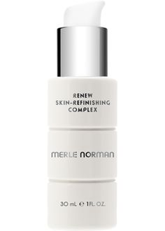 Merle Norman Renew Skin Refinishing Complex  For all skin types.   Uncover your most beautiful complexion with this gentle, silky treatment lotion. Non-acid ingredients enhance skin's natural exfoliation process to help give skin an even tone while relieving flakiness and roughness. It revitalizes the appearance of skin and helps pores appear less obvious. Ophthalmologist tested. Oil-free. Non-comedogenic.