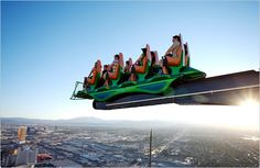 Hold on to your seats! The X Scream extends over the edge of The Stratosphere tower -- 900 feet above ground. Our advice: don't drop anything.