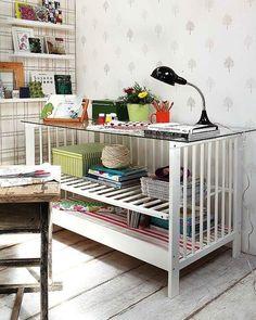 bureaus, idea, unusual furniture, desks, craft desk, craft storage, furniture hacks, kid, baby cribs