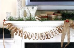 A beautiful burlap holiday mantel by @KD Eustaquio {The Celebration Shoppe}