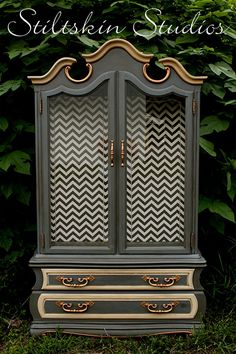 Gorgeous Chevron Striped Gilded French Grey by StiltskinStudios, $875.00