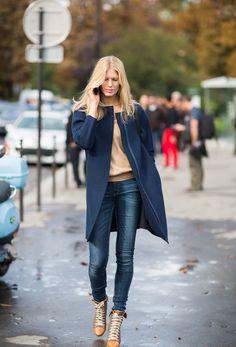 jean, jacket, camel, fashion, blue, outfit, street styles, shoe, coat