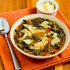 This meatless Slow Cooker Cannellini Bean and Kale Soup with Parmesan has some of my favorite flavors!  [Kalyn's Kitchen]