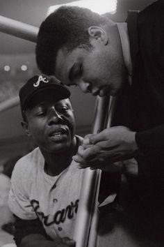Atlanta Braves outfielder Hank Aaron and Ali in Los Angeles, 1969