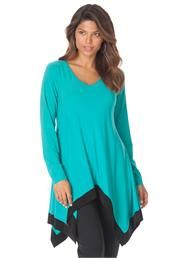 Rock this Plus Size Colorblock Hankie Hem Tunic from Roaman's.