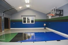 Have you ever considered converting the garage into a basketball court? These homeowners did, and the results are fun and functional. When the game is over, simply pull in the family car and it's business as usual.