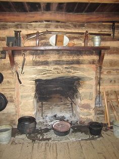 fireplace in an early log cabin
