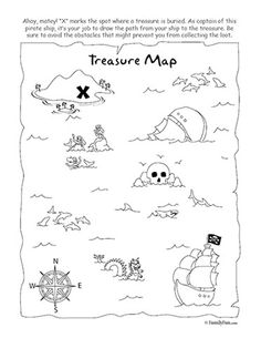 Printable treasure map coloring page