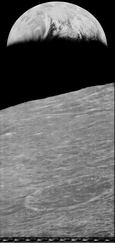 First Earthrise. Date: 23 Aug 1966. NASA's Lunar Orbiter 1 took the first photograph of Earth as seen from the vicinity of the Moon, in 1966. The five unmanned Lunar Orbiter missions mapped the Moon's surface in preparation for the forthcoming Apollo missions. Forty-two years later, NASA released this much higher-resolution version reprocessed from the original analog data tapes. Last Update: 24 Jun 2011 (AMB). Credit: NASA / LOIRP.