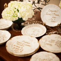 Antique Plates Guestbook // Lauren Gabrielle Photography // http://www.theknot.com/weddings/album/a-timeless-irish-wedding-in-wickliffe-oh-146594
