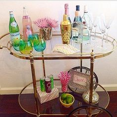 Put the cart before the horse, especially when it's a crazychicdesigns styled bar cart! This vintage cart turned #HomeGoodsHappy with our glassware and accessories! #ombre #barcart via Instagram