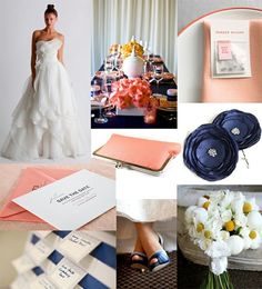 navy and coral wedding inspiration