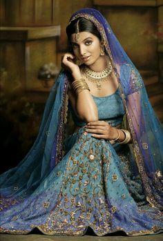 blue purple indian bridal lengha