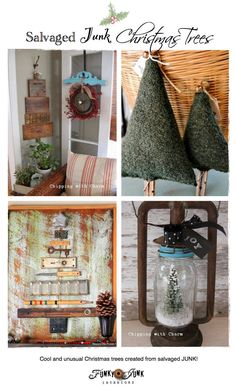 Salvaged Junk Christmas Trees - creative features and a themed link party via http://www.funkyjunkinteriors.net/