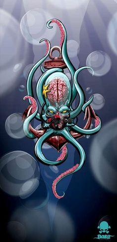 ☠ Clear Cranium Alien Art ~ Gerrel Saunders Renders Transparent Skulls with Throbbing Brains ☠