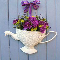 Spring Wreath - Teapot Door Pocket - Violet Blossoms Tea Time