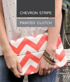 #DIY Chevron Stripe Painted Clutch