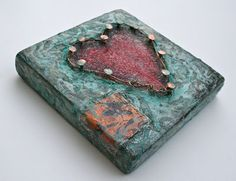 """Pinned"" mixed media heart art by Esther Orloff"