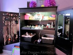 diy Design Fanatic: Organized Armoire- baskets with curling iron, hang on edge to cool, power strip to keep it plugged in, mirror on back of door, hair brushes in other basket