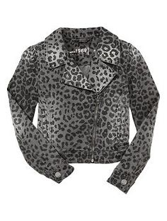 Leopard denim moto jacket | Gap - totally coed for sure
