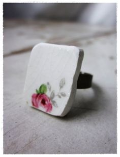 ring made from a vintage china plate. by bee vintage redux.