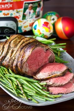 Crock-pot Beef Tenderloin with Balsamic Glaze by a spicyperspective: Who knew you could cook tenderloin low and slow? #Beef_Tenderloin #Crockpot
