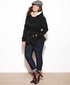 Dollhouse Plus Size Jacket, Hooded Fleece Double-Breasted Belted - Junior Plus Sizes - Plus Sizes - Macy's