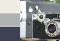 """An """"old"""" palette if you will, to go along with this old camera. Dark blue, slate grey and ivory. Classy to the point of perfection, don't you agree?"""