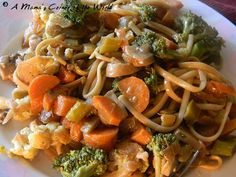 """Vegetable Lo Mein with Thin Spaghetti.  Meatless Monday recipe idea.  Hubby says """"Put it on the rotation!""""  The kids weren't as crazy about it, but it will grow on them."""