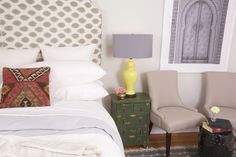 #WatchandPin  #DearGenevieve  Neutral bedding with red accent pillows, aged end-table and seating area with coffee table.  (Air Date:  Sept 21 5:30pmEST)
