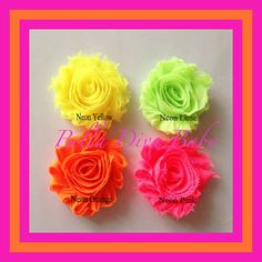 This is one beautiful Shabby Chic Flowers, 70 new colors to choose Vintage Fabric Rosette Flowers for vintage style headbands - New neon rainbow