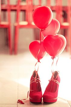 The perfect present #red #balloons #heart #shoes