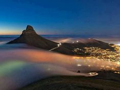 Fog surrounding Lion's Head in Cape Town.