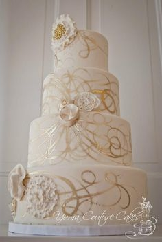 Like the golden swirls painted on the cake.