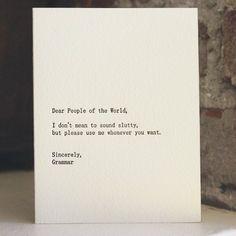 Fancy - Dear People of the World Letterpress Card