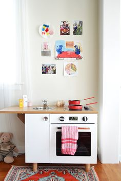 cute play kitchen made from a nightstand!