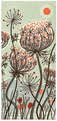 """Blue Meadow' linocut by Angie Lewin. http://www.angielewin.co.uk/ Tags: Linocut, Cut, Print, Linoleum, Lino, Carving, Block, Woodcut, Helen Elstone, Lucienne Day, Flowers, Seeds, Pattern, Leaves."
