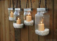 Mason Jar Lanterns Hanging Tea Light Luminaries - Set of 4 - Black Chain