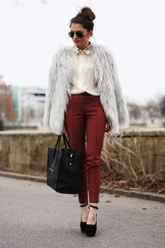 Add burgundy pants for a splash of colour for the winter
