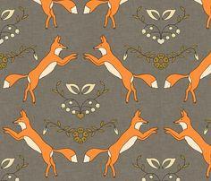 spoonflower fox fabric