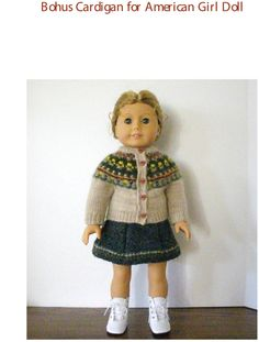 "Knitting Pattern for American Girl Doll 18"" doll Bohus cardigan jacket $6"
