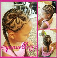 INSTAGRAM -  Instagram : @ FLOWER BRAID / Yunuette87 FLOWER HAIR DESIGN / HAIR BRAID / LITTLE GIRL HAIRSTYLE / LITTLE GIRL / HAIRSTYLE / HAIRDO / BRAIDS / PROTECTIVE HAIRSTYLE / SCALP BRAIDS / PRETTY GIRLS / KIDS / GIRLS / NATURAL HAIRSTYLES / CORNROLLS