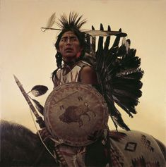 "During the 1860's, James Bama was 1 of 4 young Native American brothers, who were Pow-Wow dancers of the Plains Indians of the central lands. He and his brothers are most famous for their war dances, where these men are depicted as certain ""bringers of death"". The brothers were known to wear war bonnets made of eagle feathers- the eagle was recognized as the most powerful bird. These dances and headdresses are both items of magical and spiritual importantance for the Plains Indians."