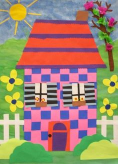 1st grade houses from their paper weavings. They added details and then made a backgrounds for their houses with paint and assorted materials.