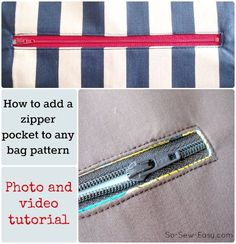 Tips and video on how to add a zipper pocket to the inside or outside of a bag pattern.