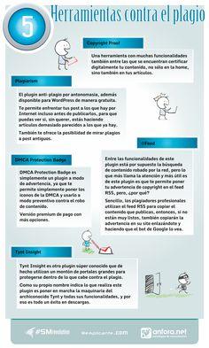 5 herramientas contra el plágio. #Infografía en español #CommunityManager #RedesSociales #MarketingOnline #InternetMarketing #Infografia #CapacitaciónOnline