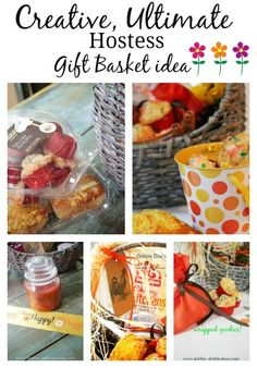 Perfect idea for the holiday hostess.Creative ultimate hostess gift basket idea. #debbiedoos